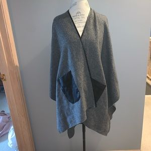 Jackets & Blazers - Gray Fleece Cape with Faux Leather Pockets